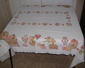 """Vintage Folk Style Tablecloth, 64"""" x 49"""""""
