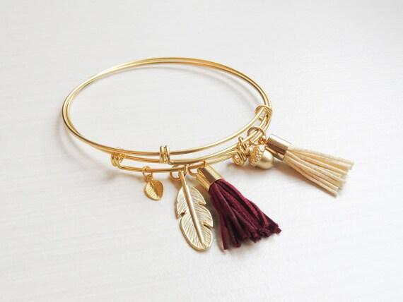 Personalized Gold Charm Bangle Bracelet | Gold Charm Bangle Bracelet | Build Your Own Bangle Bracelet | Gold Bangle | Personalized Bangle