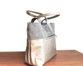 Summer SALE, Canvas tote bag, nude and gary market bag, vegan handbag, laptop handbag, women tote bag, fabric tote, summer shoulder bag, gra