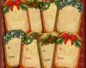 Christmas Tags Victorian Christmas Grunge Tags Xmas Tags Printable Instant Download Holiday Gift Tags DIY Do It Yourself Christmas 343