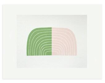 Retro screenprint, Mid Century Modern, original handmade abstract art in pink and green by Emma Lawrenson