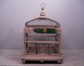 hand painted wood and wire birdcage