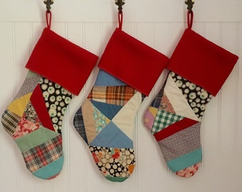 Set of 3 Christmas Stocking Cottage Shabby Vintage Patchwork Quilt with Red Cuff Family Stocking Set of 3