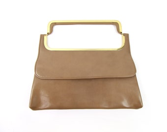 VINTAGE 1970s Clutch Bag Brown Gold