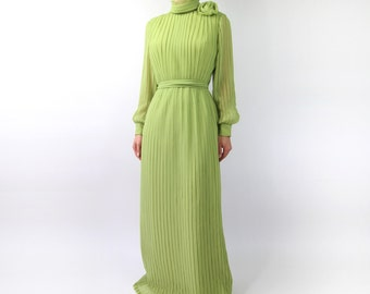 VINTAGE 1960s Gown Pleated Chiffon Chartreuse Green Dress