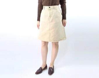 VINTAGE Denim Skirt High Waist Short Oatmeal Beige