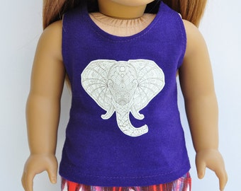 AG Doll Clothes - Graphic Tee - White Elephant, Zentangle, Custom Tank, Tshirt, Crop Top, 18 inch Doll