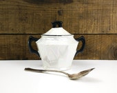 White Lusterware Sugar Bowl with Black trim / Czechoslovakia