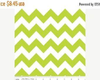 Summer Clearance Riley Blake Fabric - 1 Yard of Medium Chevron in Lime