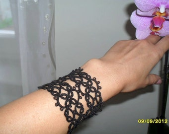 Tatted - Frivolite Black Bracelet - Lace Tatting Jewelry - Rocker Bracelet