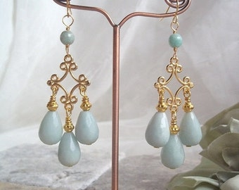 VALENTINES DAY SALE Earrings Faceted Amazonite Gemstone Teardrops on Gold Bali Connector, Fashion Earrings Gemstone Earrings Mint Green Ston