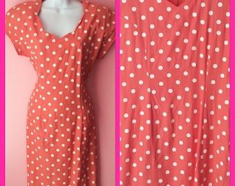 Vintage 80s Peach and White Polka Dots Babydoll Dress Size Medium