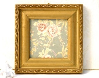 Shabby  chic decor, Country home decor, Antique gold frame, Wall art, Country wall hanging, Valantine gift, Rustic roses paper
