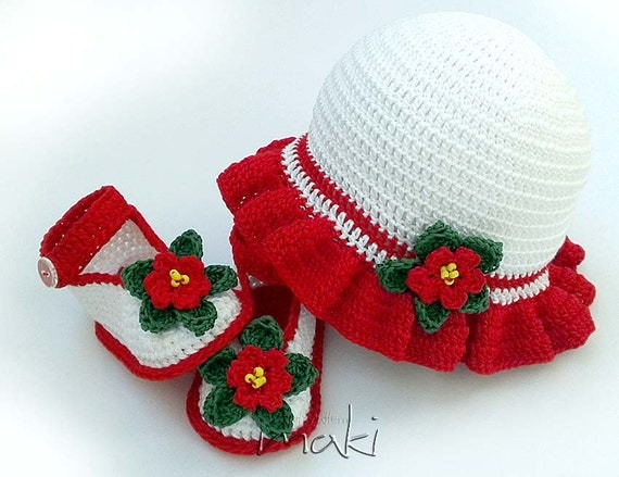 Crochet pattern Christmas baby set hat with by MakiCrochet