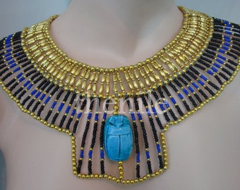 Egyptian Black And Blue Beaded Queen Cleopatra Necklace Belly dance Mega sale