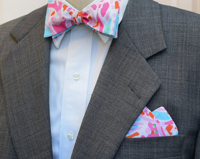 Men's Pocket Square & Bow Tie, pink, blues Lilly Jellies be Jammin', wedding party wear, groomsmen gift, groom bow tie set, lilly menswear