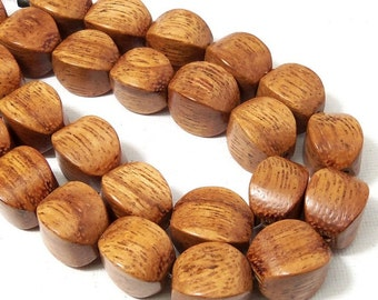 Bayong Wood Bead, Cushion, 10mm x 14mm, Large, Natural Wood Beads, 8 Inch Strand - ID 2181-HS