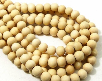 Unfinished Whitewood, 8mm, Unbleached, Round,  Natural Wood Beads, Smooth, Small, 16 Inch Strand - ID 2174