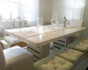 SUMMER SALE: 7 foot double trestle table and two long matching benches