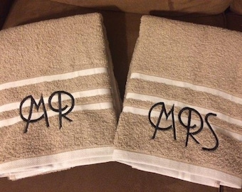Mr and Mrs Embroidered Bath Towels