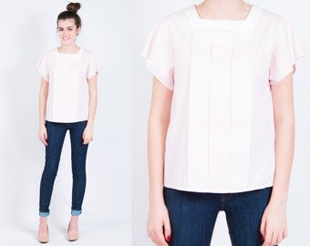 Vintage Pink Shirt w/ Buttons down the back * Crisp Cotton Pleated Blouse * Size Medium * FREE SHIPPING
