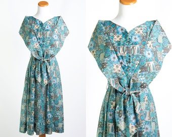 Vintage 1950s Blue Green Teal Purple Patchwork Bandana Print Dress * Bow Front Sailor Shrug Collar Rockabilly * Size Medium * FREE SHIPPING