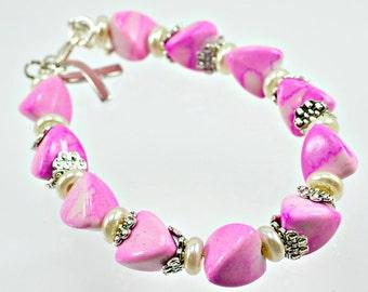 Pink Triangle Beaded Awareness Bracelet - Support - Awareness