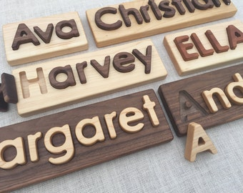 Personalized Custom Name Puzzle in Heirloom Quality Walnut and Maple Hardwoods