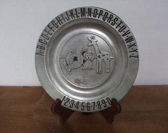 Pewtarex Vintage ABC 123 Pewter Children's Plate