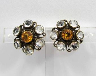 Sterling Clip Earrings - Crystal clear & topaz stones - deep bezel setting - 40s-50s