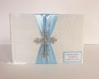 Baby Baptism Guest Book, Baby Christening Memory Book - Custom Made