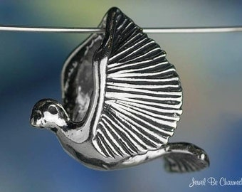 Dove or Pigeon CHARM or PENDANT Sterling Silver Flying Bird Solid .925
