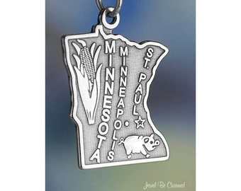Sterling Silver Minnesota Charm State America Minneapolis Solid .925