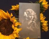 Real Photo Postcard - Beautiful Girl - Curly Long Hair