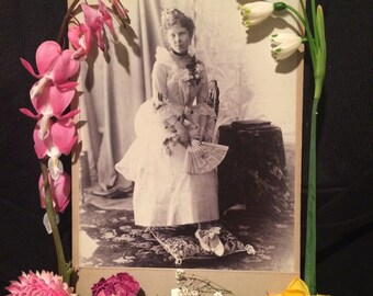 Antique Cabinet Photo- Russian Woman with Fan and Fancy Dress