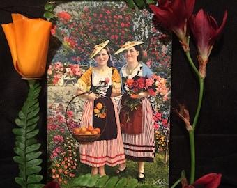 Colorful French Antique Photo Postcard - Women of Cote d'Azur France - Flowers - Oranges - Roses  - Flower Basket