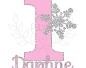 Birthday IRON ON transfer, Birthday Girl, Birthday Party, Iron on,1st Birthday, First Birthday, Silver Snowflake, Heat Transfer, Pink