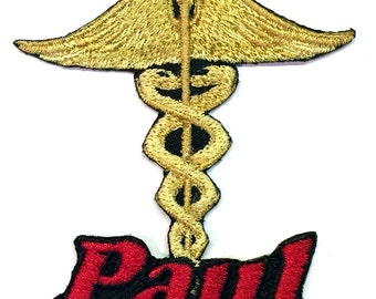 Iron on Patch Caduceus Medical Name Personalized Free