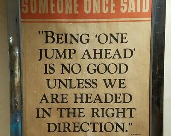 Vintage Sign/Vintage Art/Inspirational Saying/Office Decor