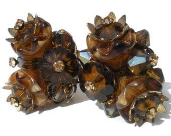 Alice Caviness Clip Earrings Rhinestone Flowers Molded Art Glass Margarita Stones Root Beer Brown Swirled - Signed Vintage Jewelry