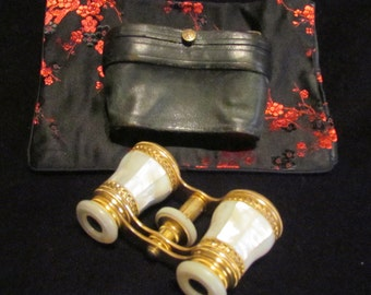1800s LeMaire Fi Opera Glasses Paris Mother Of Pearl Theater Glasses Binoculars MOP Opera Glasses In Original Case EXCELLENT CONDITION