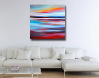 Abstract Landscape, Canvas Print, Giclee Print, Wall Art, Large Canvas Print, Large Abstract Canvas, Landscape Painting, Red and Blue Art