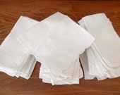 Vintage Linen Napkins - Forty-Assorted Patterns - Napkins Set for Crafts - White Linen Napkins