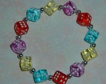Multi-Color Dice Bracelet - Bunco / Bunko, Casino or Poker Party Gift