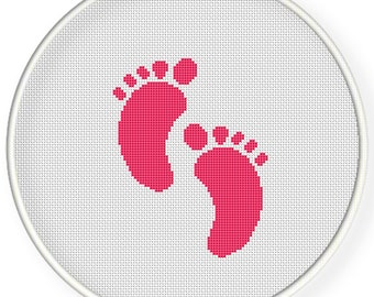 INSTANT DOWNLOAD,Free shipping,Cross stitch pattern, PDF,baby feet,foot print,zxxc0631