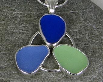 Trinity Sea Glass Bezel Pendant Necklace Maine