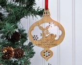 Baby's First Christmas Personalized 2016 Woodland Animal Wood Bamboo Deer Ornament with Name