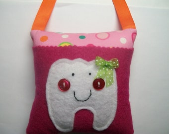 Girls Tooth Fairy Pillow Pink with Bright Dots