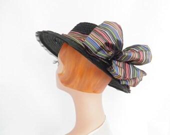 1930s tilt hat, ribbons black straw, NY Creation, excellent