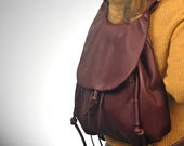 Handmade leather shoulder bag, backpack, messenger, named Daphne in Bordeaux color, MADE TO ORDER